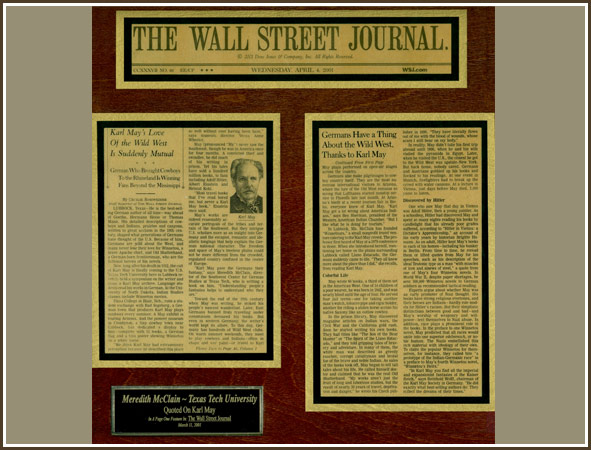 Wall Street Journal Article About Karl May