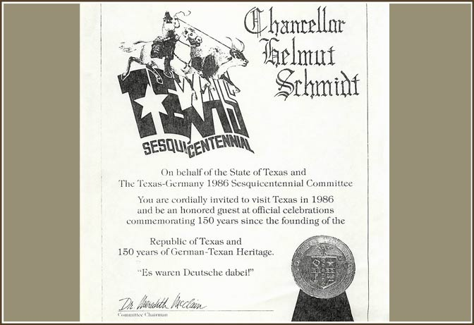 Texas Sesquicentennial Invitation to Chancellor of Germany Helmut Schmidt